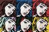 STEVE KAUFMAN - HOMAGE TO LICHTENSTEIN - 6 CRYING GIRLS